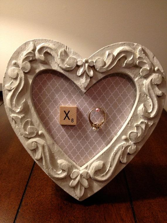 Romantic Shabby Chic Heart Frame Ring Holder