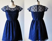 LAUDRÉE (Navy) :Navy blue lace dress, sweetheart neckline, cap sleeves, day, date night, holiday party, bridesmaid