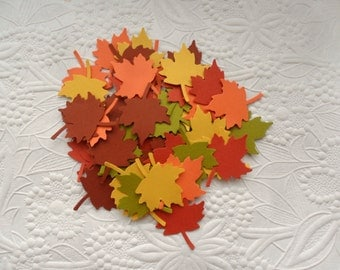 50 Fall Maple Leaf Confetti-Thanksgiving Confetti-Scrapbooking-Gift Wrapping-Embellishments-Party-Cards-Die Cuts-Punches