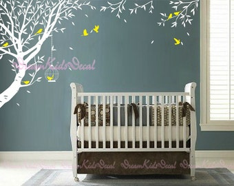 Nursery wall decal baby wall decal children wall decal room vinyl decal stickers nature trees decal with flying birds-DK088