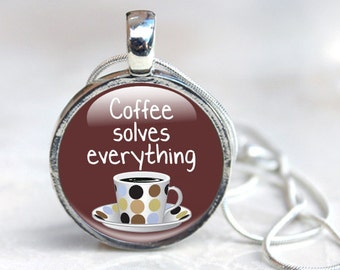 Coffee Necklace, Gift for coffee lover - Coffee Jewelry - Coffee Glass Pendant Necklace (CNG1)