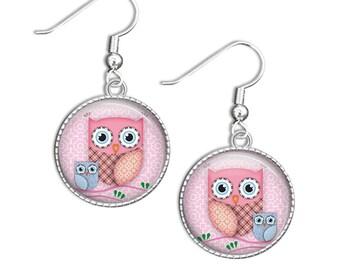 Owl Earrings, Bird Earrings, Photo jewellery, Bird jewely, drop earrings, dangles, Owls Pink and Blue Owl Jewellery