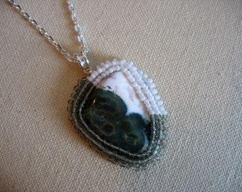 Ocean Jasper beaded necklace pendant, beaded cabochon, bead embroidery, ocean jasper necklace