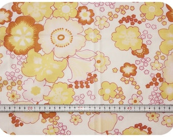 Floral retro vintage fabric - yellow, brown and pink