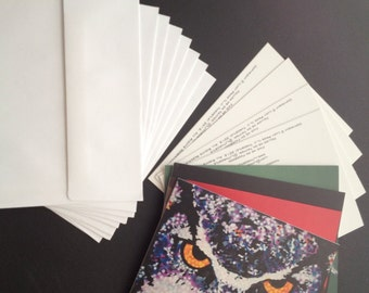 ART CARDS/ prints - Pack of 4 designs Greeting cards of original paintings by L.J. Throstle (8 cards:2 of each design with envelopes)