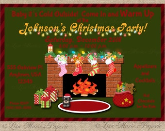 christmas party invitation, handmade digital invite, christmas party invite, christmas invite - Digital File - DIY PRINTABLE