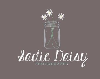 Photography logo - mason jar logo - daisy logo