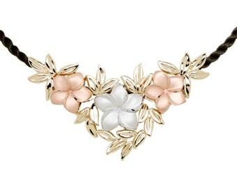 14K Tricolor Plumeria Pendant, Plumeria Pendant, Plumeria, Tricolor Jewelry, Plumeria Jewelry, Flowers, Floral, Floral Jewelry