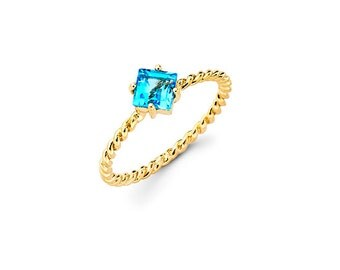14K Yellow Gold Twisted Rope Ring with Blue Topaz,Unique Ring,Blue Topaz,Birthstone,December,Gift,14K,Yellow Gold