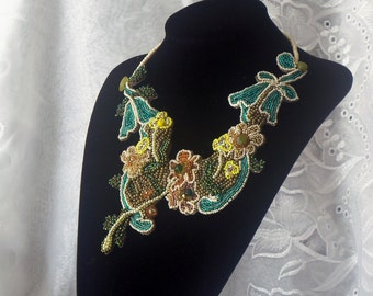 Spring Pastel Statement Bib Necklace, Flowers Neck Piece, Beaded Lace, Painted Rhinestone Beads, Haute Couture