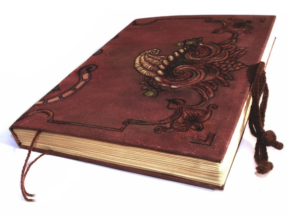 Fall Colors Large Grimoire Book of Shadows Journal with lock ties Burgundy Harvest Autumn Diary