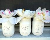 Set of Three White Pint Ball Mason Jars :