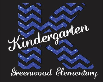 DIY Iron On Bling Transfer for Chevron Pattern Teacher tshirts Kindergarten Teacher School Spirit Elementary School
