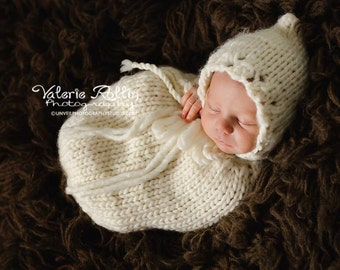 Newborn knit swaddle snuggle me sac set with pixie style bonnet