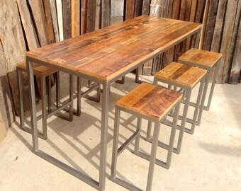 Custom Outdoor/ Indoor Rustic Modern/ Industrial Reclaimed Wood Bar Height Table