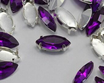 15x7mm Purple Amethyst Navette Fancy Gems & Cup Settings - 24 Pieces