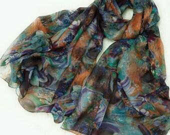 Dark Floral Silk Chiffon Scarf - Mysterious Floral Print Silk Scarf - AS239