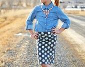 Girls Pencil Skirt, Grey and Mint Polka Dot