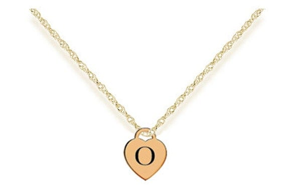 letter o gold plated heart charm pendant custom engraved