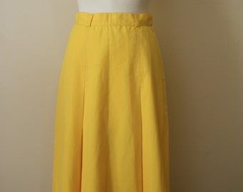 Vintage 1970s does 1940s Secretary Yellow A-Line Skirt