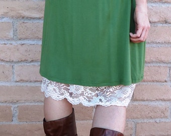 Cream flat lace slip extender.  Very versatile.  Also available in black and brown.