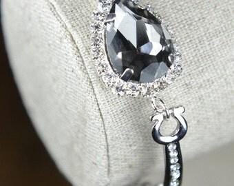 Black charcoal gray,silver gold Bracelet, black Gold Bracelet,black Bridesmaid Jewelry,gray Bridesmaid Bracelet,Bridesmaid Gift,gray silver
