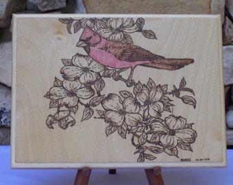 Cardinal with Flowering Dogwood Woodburning Pyrography