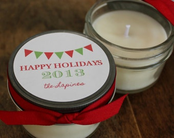 Set of 12 - 4 oz Holiday Candle Favors - Bunting Design - Candle Christmas Gift // Personalized Holiday Gift // Christmas Party Favors