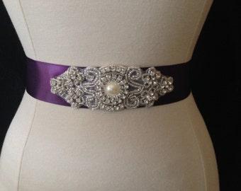 Purple Wedding Sash - Rhinestone Bridal Sash - Bridesmaid Sash - Wedding Dress Belt - Prom Belt - Gown Sash - Rhinestone Belt - Crystal Sash