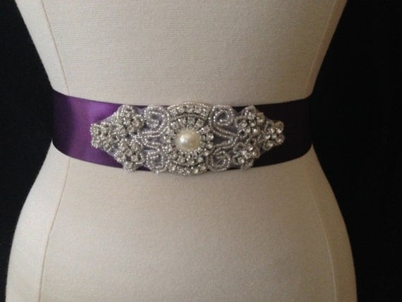 purple wedding sash rhinestone bridal sash bridesmaid sash