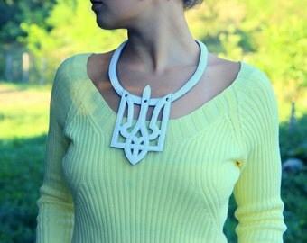 Leather necklace - Trident Leather Jewelry Ukraine -  Yellow bib necklace - Patriotic jewelry - Ukraine jewellery - The Soul of Ukraine