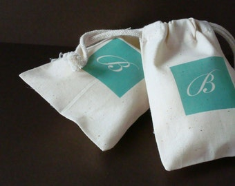 Color Block LARGE Muslin Bag, Wedding Favor Bag, Bridal Shower Favor Bag, Personalized Muslin Bag