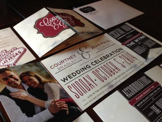 Vegas Wedding Invitation: Custom Fold Wedding Invitation: Las Vegas By TheDesignBrewery