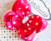 Pink Hair Bow, Pink Boutique Hair Bow, Pink Hairbow, Pink Hair Clip, Pink Polka Dot Hair Bow, Easter Hair Bow, Easter Hair Clip