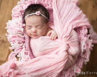 Pink Flower Headband, Petite Headband, Pink Flower, Pink Headband, Baby Headband, Newborn Headband, Photography Prop