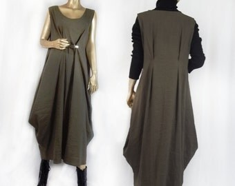 Lagenlook, rayon-poly,dress, jumper, olive, maxi, plus size, shabby chic, sundress, summer, winter, plus size. Free shipping in USA