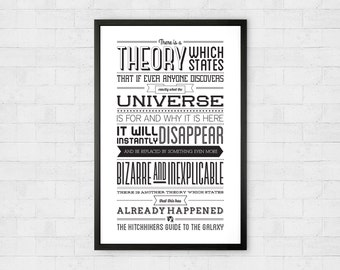 Hitchhiker's Guide to the Galaxy Poster Print Quote - Theory