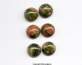 Matched Pair 8 mm Natural Round Unakite Cabochon for Two US seller