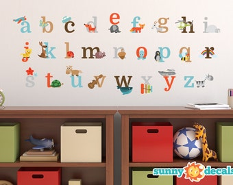 Alphabet Fun Fabric Wall Decals - Repositionable and Reusable, ABC Decals  with Animals and Fun Characters - 3 Options