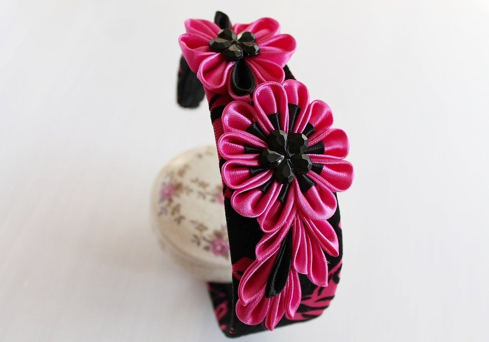 Fuchsia Kanzashi Headband Flower Hair Band Art by NoviaBellaTS