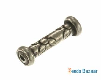 Karen Hill Tribe silver Flower Printed Tube Bead, 15 mm
