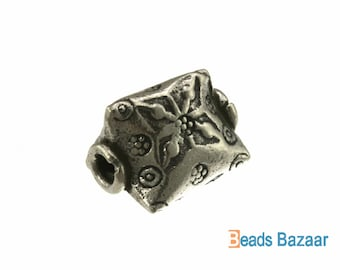 Karen Hill Tribe silver Tribal 3 side Prism Bead, 12 x 12 mm ( 3 pieces )