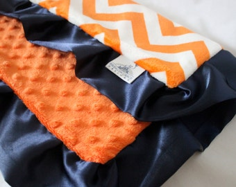 Orange and White Chevron Mini Minky, Lovie Blanket with Solid Orange Minky Dot and finished with a Navy Satin Trim, Girls, Boys, Baby