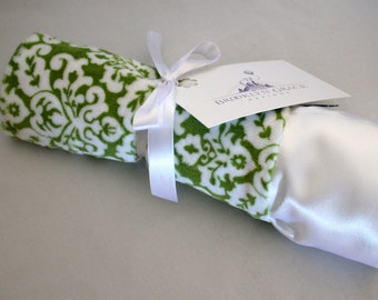 Green and White Damask Print with White Embossed Chevron and White Satin - Lovie Blanket - Lovey, Baby Blanket, Woobie