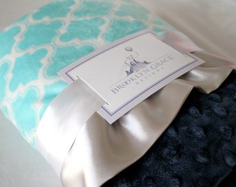 Moroccan Tile Minky Blanket in Aqua with Navy Blue Minky Dot and Silver Gray Satin Ruffle Triim, Baby Bedding, Turquoise, Teal