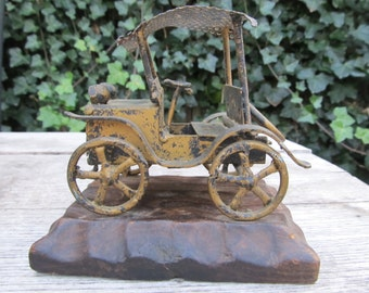 Vintage Metal Antique Car Sculpture - Folkart Car Sculture