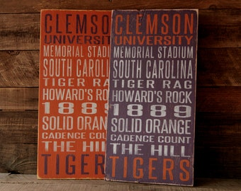 Clemson University Tigers Distressed Wood Sign--Great Father's Day Gift!