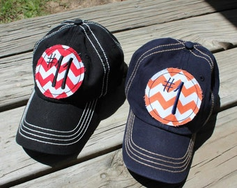 Custom Number Chevron Baseball Hat Cap Mom