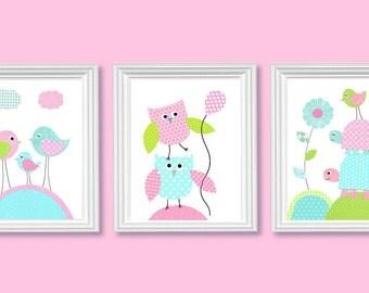 Girl Nursery Art, Woodland Art Prints, Girl's Room Decor, Playroom Wall Art, Owl Baby Print, Baby Shower Gift, Baby Girl Decor, Baby Art