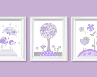 Gray and Lavender Nursery Decor, Purple Nursery Art, Birds, Flowers, Tree, Baby Girl's Room Decor, Playroom, Baby Shower Gift, Toddler Art